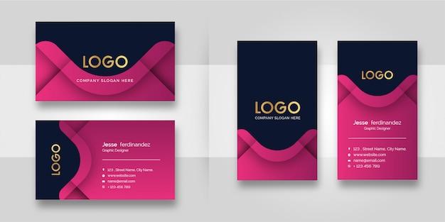 Plantilla de tarjeta de visita - forma rosada moderna