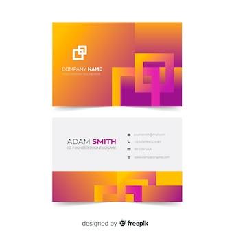 Plantilla de tarjeta de visita - formas de gradiente de duotono abstracto