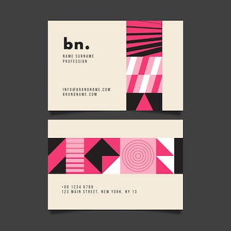 Plantilla de tarjeta de visita con formas rosas