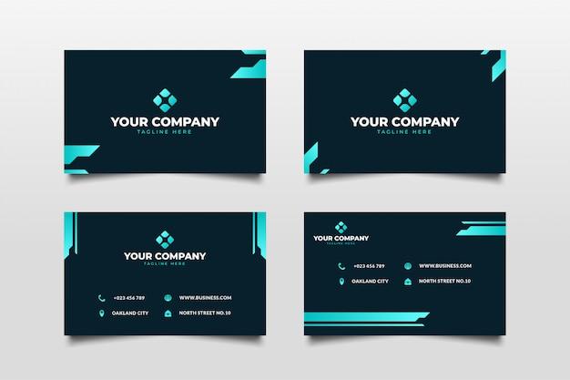 Plantilla de tarjeta de visita futurista oscura y azul