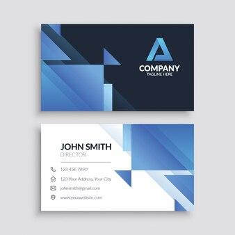 Plantilla de tarjeta de visita geométrica abstracta azul