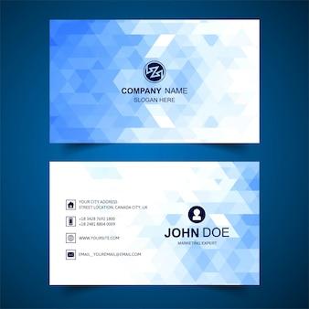 Plantilla de tarjeta de visita geométrica azul abstracta