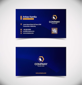 Plantilla de tarjeta de visita geométrica azul moderna