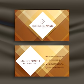 Plantilla de tarjeta de visita geométrica dorada abstracta