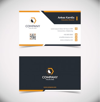 Plantilla de tarjeta de visita geométrica moderna negra y naranja