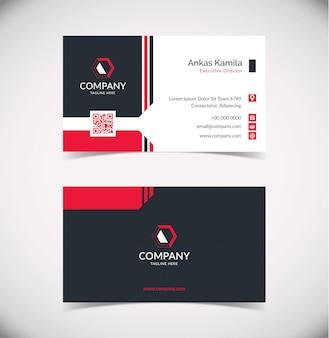 Plantilla de tarjeta de visita geométrica moderna en negro y rojo