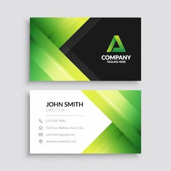 Plantilla de tarjeta de visita geométrica moderna verde