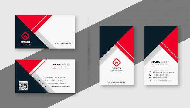 Plantilla de tarjeta de visita geométrica roja moderna