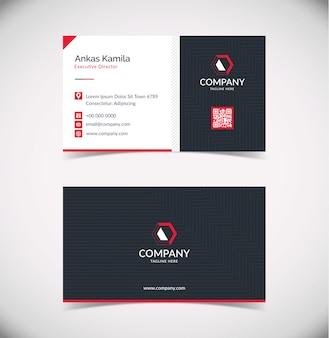 Plantilla de tarjeta de visita geométrica roja negra simple y moderna