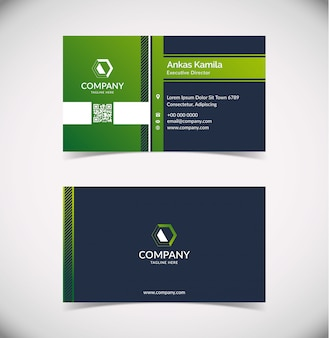 Plantilla de tarjeta de visita geométrica verde moderna