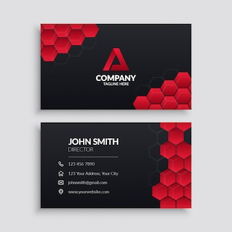 Plantilla de tarjeta de visita con hexágono rojo