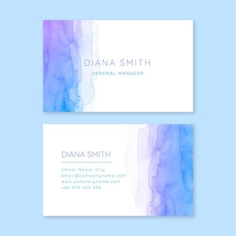 Plantilla de tarjeta de visita horizontal acuarela abstracta