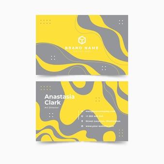 Plantilla de tarjeta de visita horizontal amarilla y gris