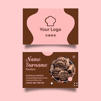Plantilla de tarjeta de visita horizontal de anuncio de cookies
