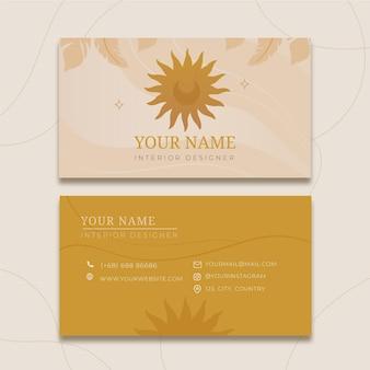 Plantilla de tarjeta de visita horizontal boho
