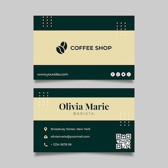 Plantilla de tarjeta de visita horizontal de café