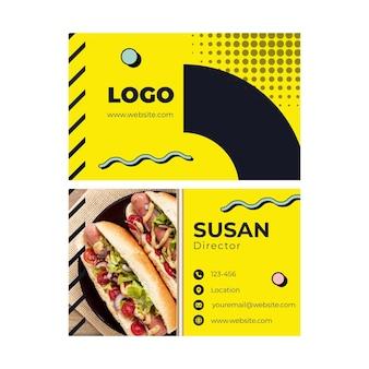 Plantilla de tarjeta de visita horizontal de comida americana