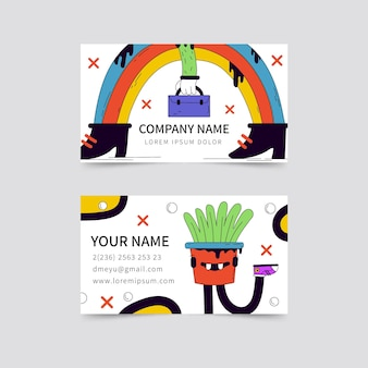 Plantilla de tarjeta de visita horizontal de dibujos animados de moda dibujados a mano