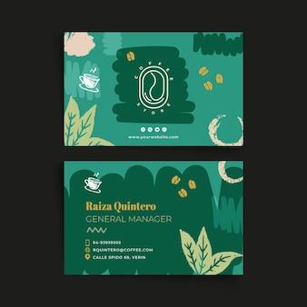 Plantilla de tarjeta de visita horizontal de doble cara de café
