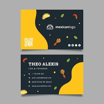 Plantilla de tarjeta de visita horizontal de doble cara de comida mexicana