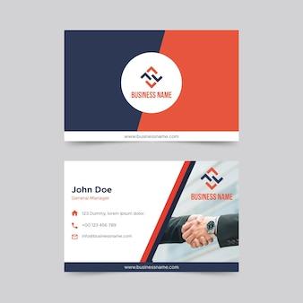 Plantilla de tarjeta de visita horizontal de doble cara empresarial