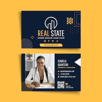 Plantilla de tarjeta de visita horizontal de doble cara inmobiliaria