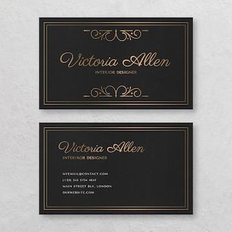 Plantilla de tarjeta de visita horizontal de doble cara ornamental dorada