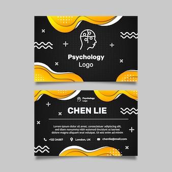 Plantilla de tarjeta de visita horizontal de doble cara de psicología