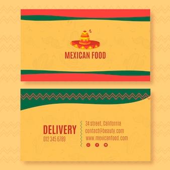 Plantilla de tarjeta de visita horizontal de doble cara para restaurante de comida mexicana