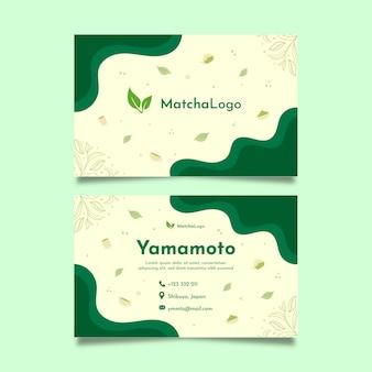 Plantilla de tarjeta de visita horizontal de doble cara de té matcha