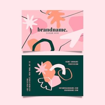 Plantilla de tarjeta de visita horizontal de formas abstractas planas dibujadas a mano