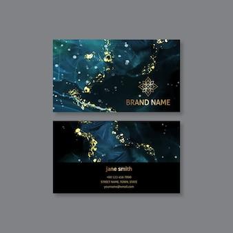 Plantilla de tarjeta de visita horizontal de lámina de oro