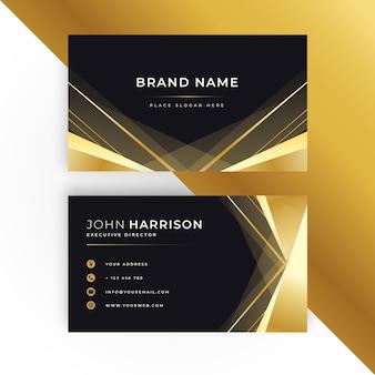 Plantilla de tarjeta de visita horizontal de lujo dorado degradado