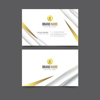 Plantilla de tarjeta de visita horizontal de lujo dorado realista