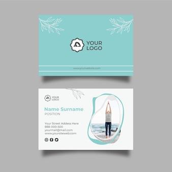 Plantilla de tarjeta de visita horizontal de meditación y atención plena