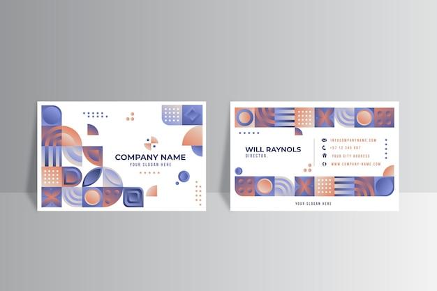 Plantilla de tarjeta de visita horizontal de mosaico degradado