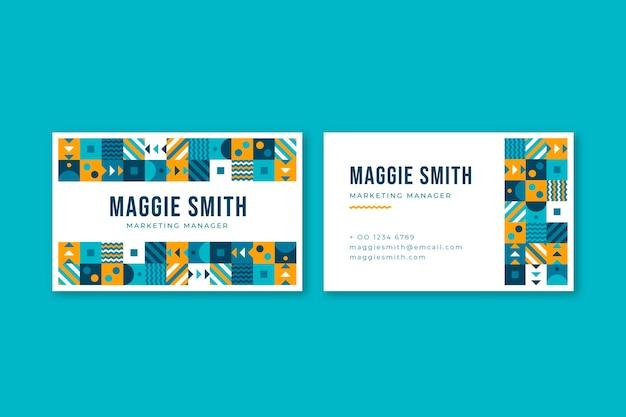 Plantilla de tarjeta de visita horizontal de mosaico plano