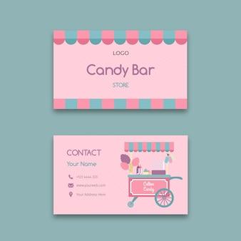 Plantilla de tarjeta de visita horizontal de negocios de barra de caramelo rosa