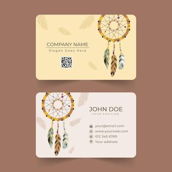 Plantilla de tarjeta de visita horizontal plana boho