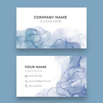 Plantilla de tarjeta de visita horizontal de tinta de alcohol acuarela