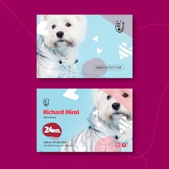 Plantilla de tarjeta de visita horizontal veterinaria para mascotas