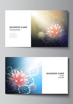 Plantilla de tarjeta de visita con ilustración 3d de coronavirus. covid-19, infección por coronavirus.