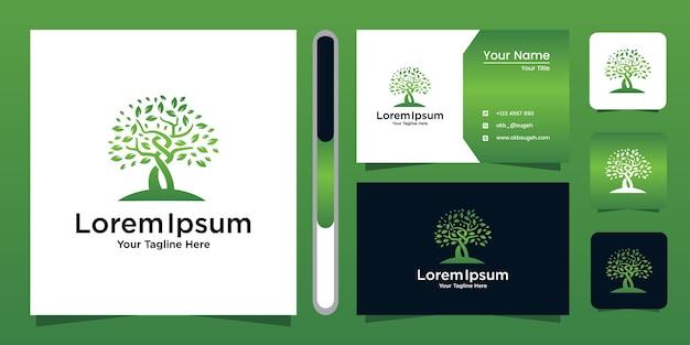 Plantilla y tarjeta de visita del jardín verde del logotipo del árbol.