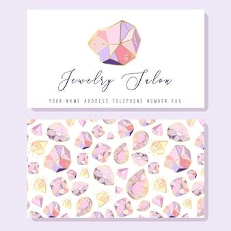 Plantilla de tarjeta de visita para joyerías: diamantes dorados, cristal o gemas