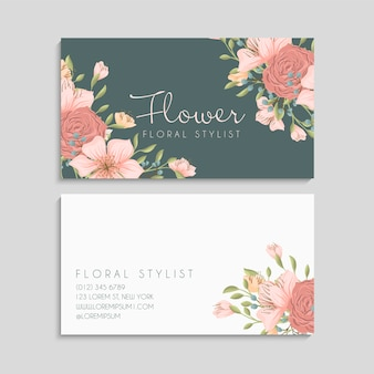 Plantilla de tarjeta de visita linda flor
