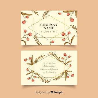 Plantilla de tarjeta de visita con líneas doradas florales