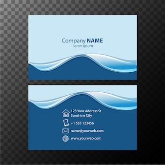 Plantilla de tarjeta de visita con líneas onduladas azules