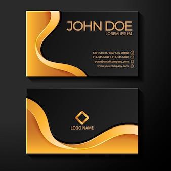 Plantilla de tarjeta de visita líquida de lámina de oro