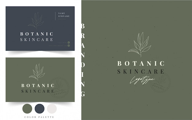 Plantilla de tarjeta de visita de logotipo botánico