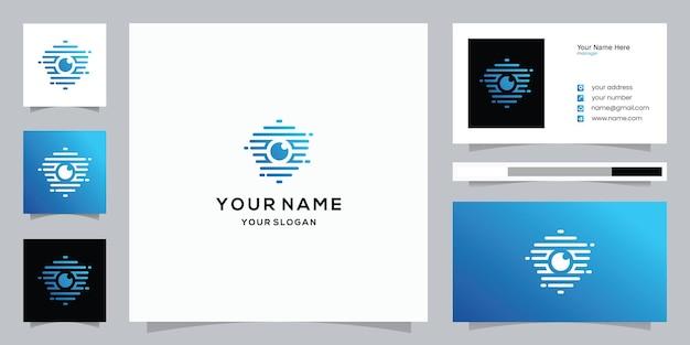 Plantilla de tarjeta de visita y logotipo de escudo de cámara